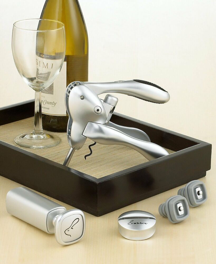 rabbit corkscrew wine preserver 6 piece set ebay. Black Bedroom Furniture Sets. Home Design Ideas