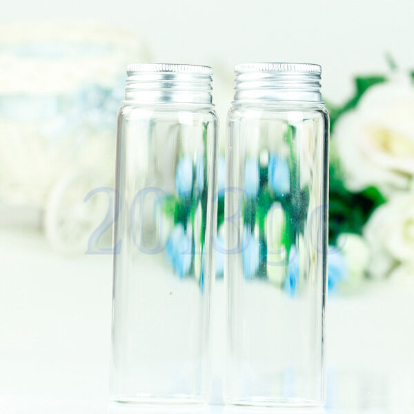 2 glass clear test tube bottle vials screw cap flat bottom for Glass test tubes for crafts