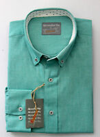Alexander Hay Mens Green Oxford Cotton Long Sleeve Casual Shirt S - KingSize 7XL