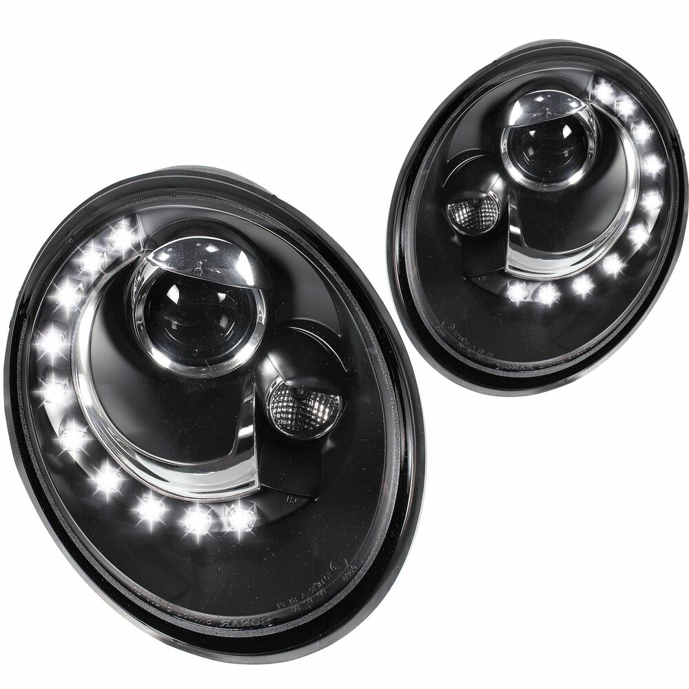 Black Clear Finish Headlights With Led Drl For Vw Beetle
