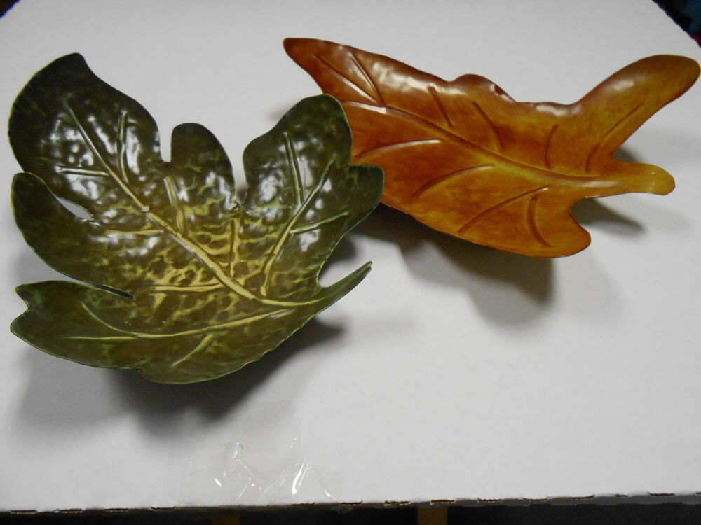 Two Decorative Metal Leaf Shaped Plates Rust Green Footed