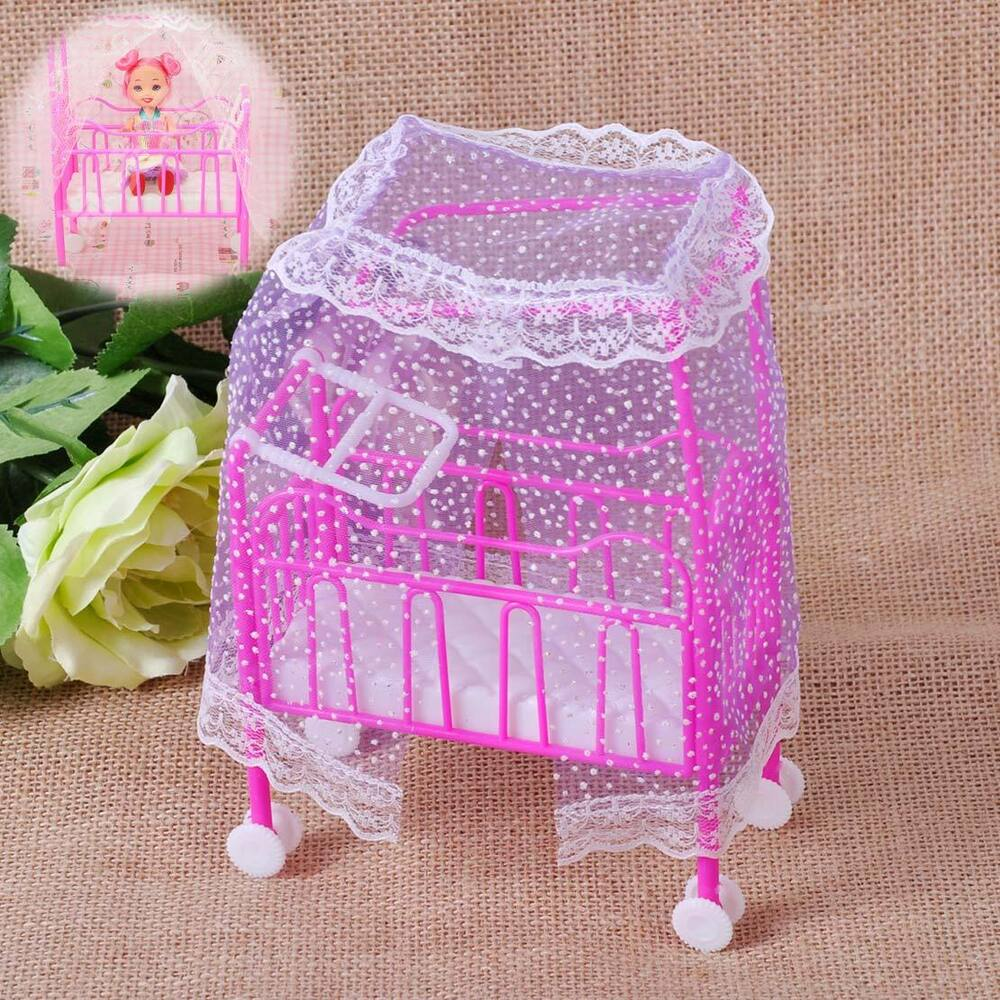 New Plastic Baby Bed Miniature Dollhouse Toy Bedroom
