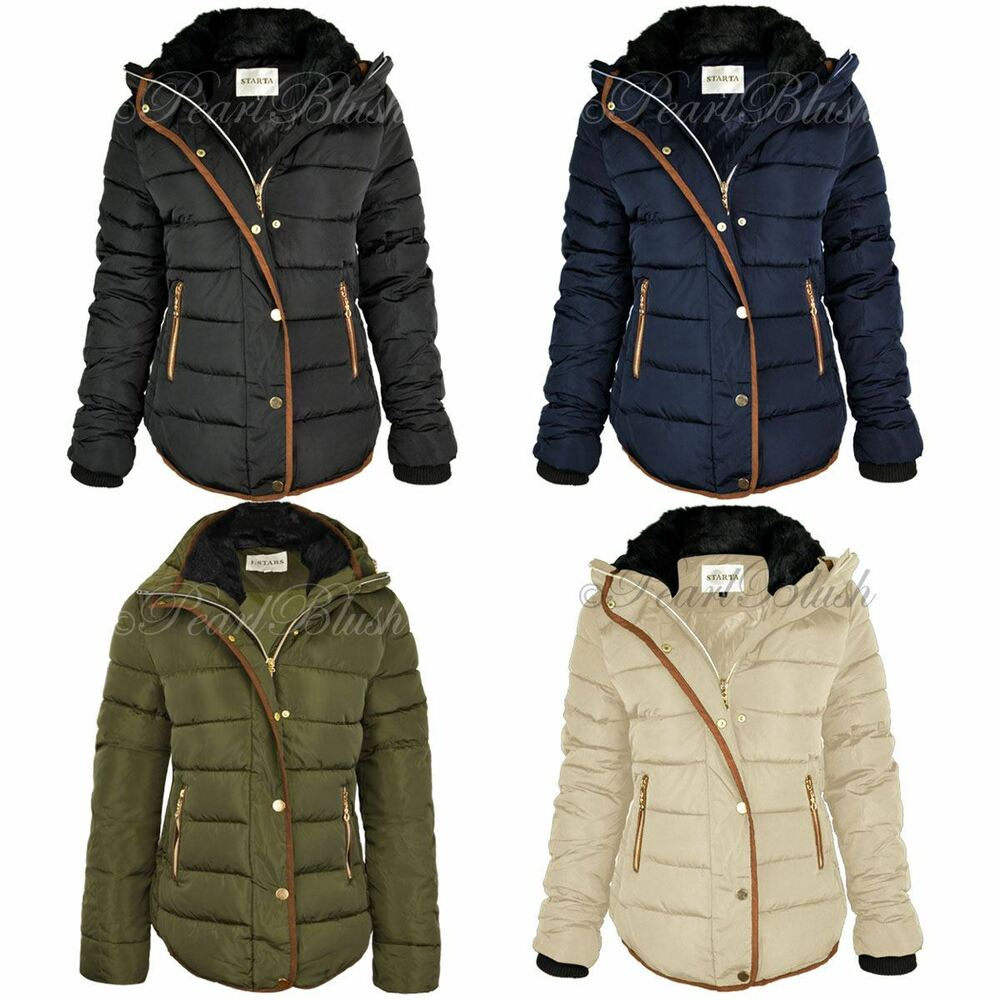 womens ladies quilted winter coat puffer fur collar hooded. Black Bedroom Furniture Sets. Home Design Ideas