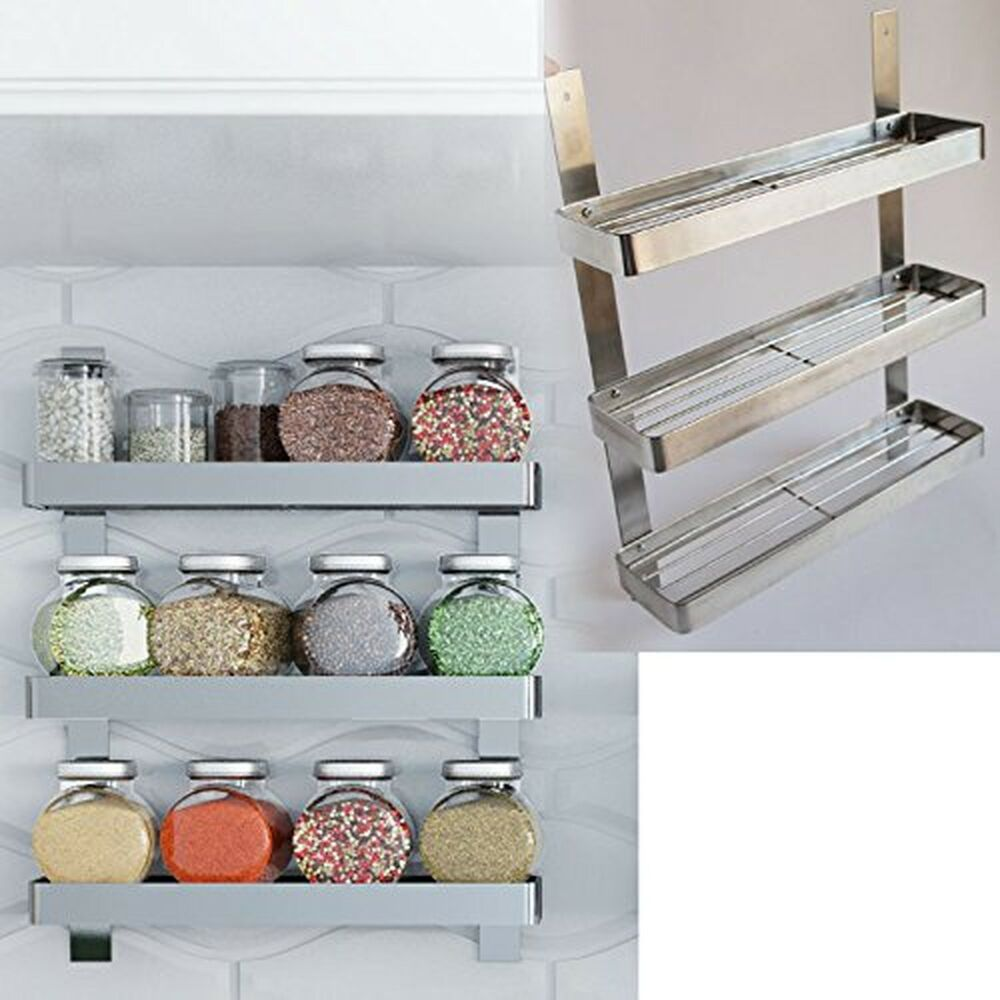 Kitchen Cabinet Spice Racks: Stainless Steel Kitchen Spice Shelf Rack Kitchen Organizer