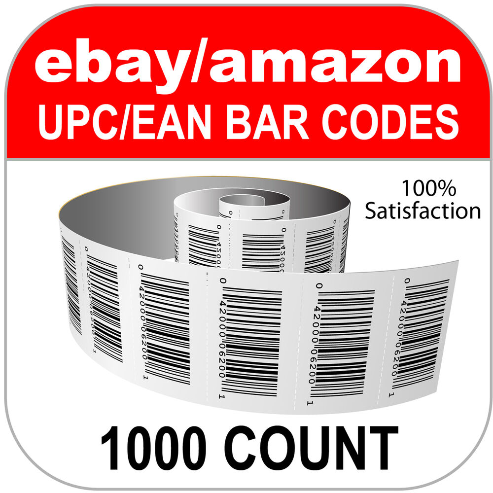 Ebay Bar: 1000 UPC EAN Numbers GS1 Barcodes Bar Codes Code Amazon