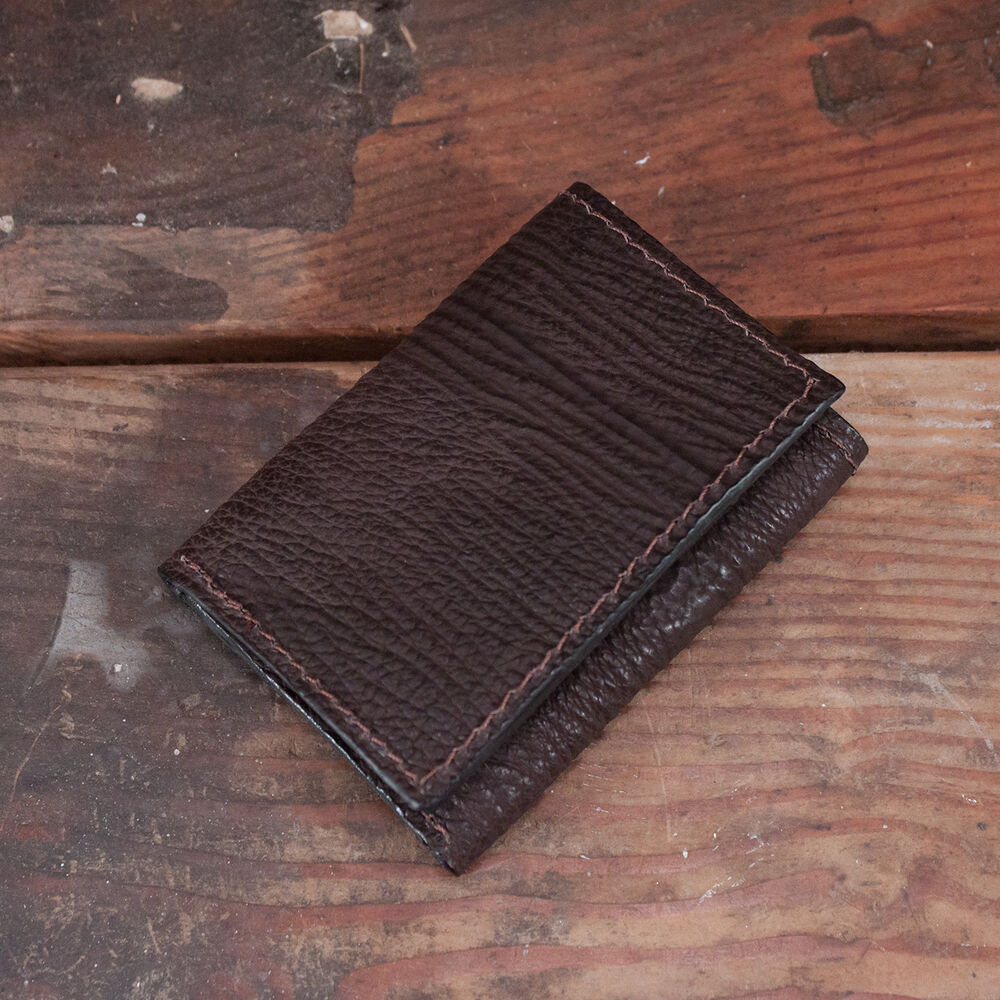Brown Shark Trifold Wallet Amish Hand Made From Genuine