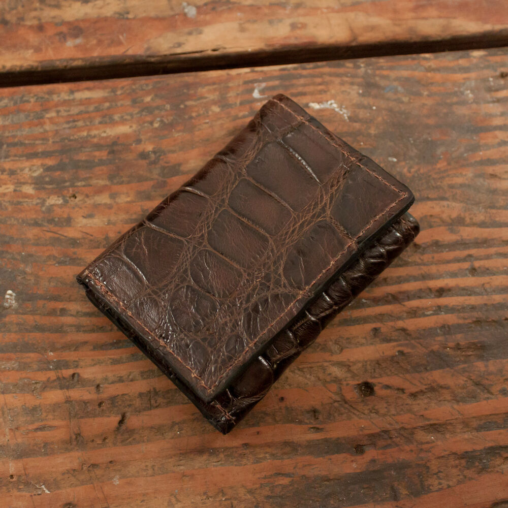 Brown Alligator Trifold Wallet Amish Hand Made From