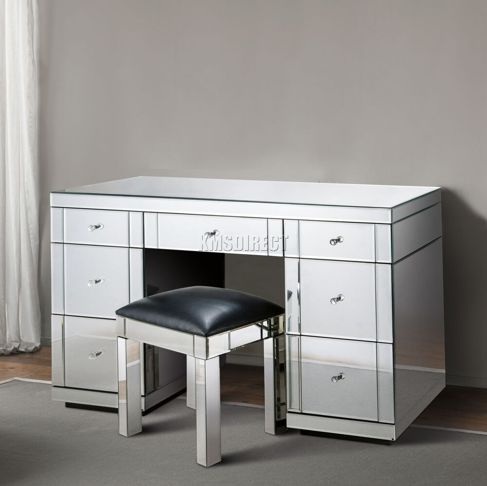 Foxhunter Mirrored Furniture Glass 7 Drawer Dressing Table Console Bedroom Mdt02 Ebay