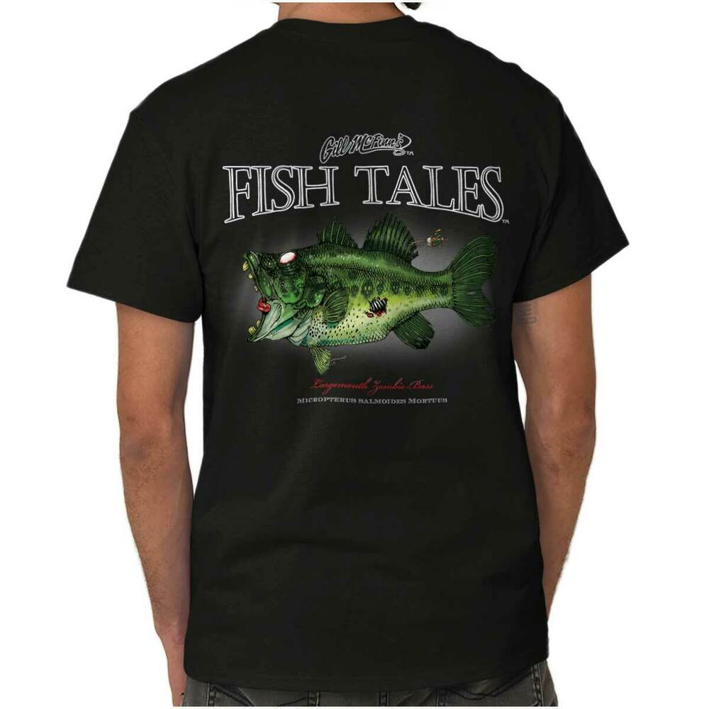 Large mouth zombie bass fish sporting goods fishing gear for Fishing t shirts brands
