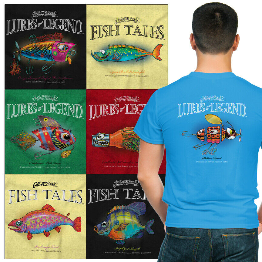 Fishing gill mcfinn 39 s humor printed t shirts ebay for Fishing t shirts brands