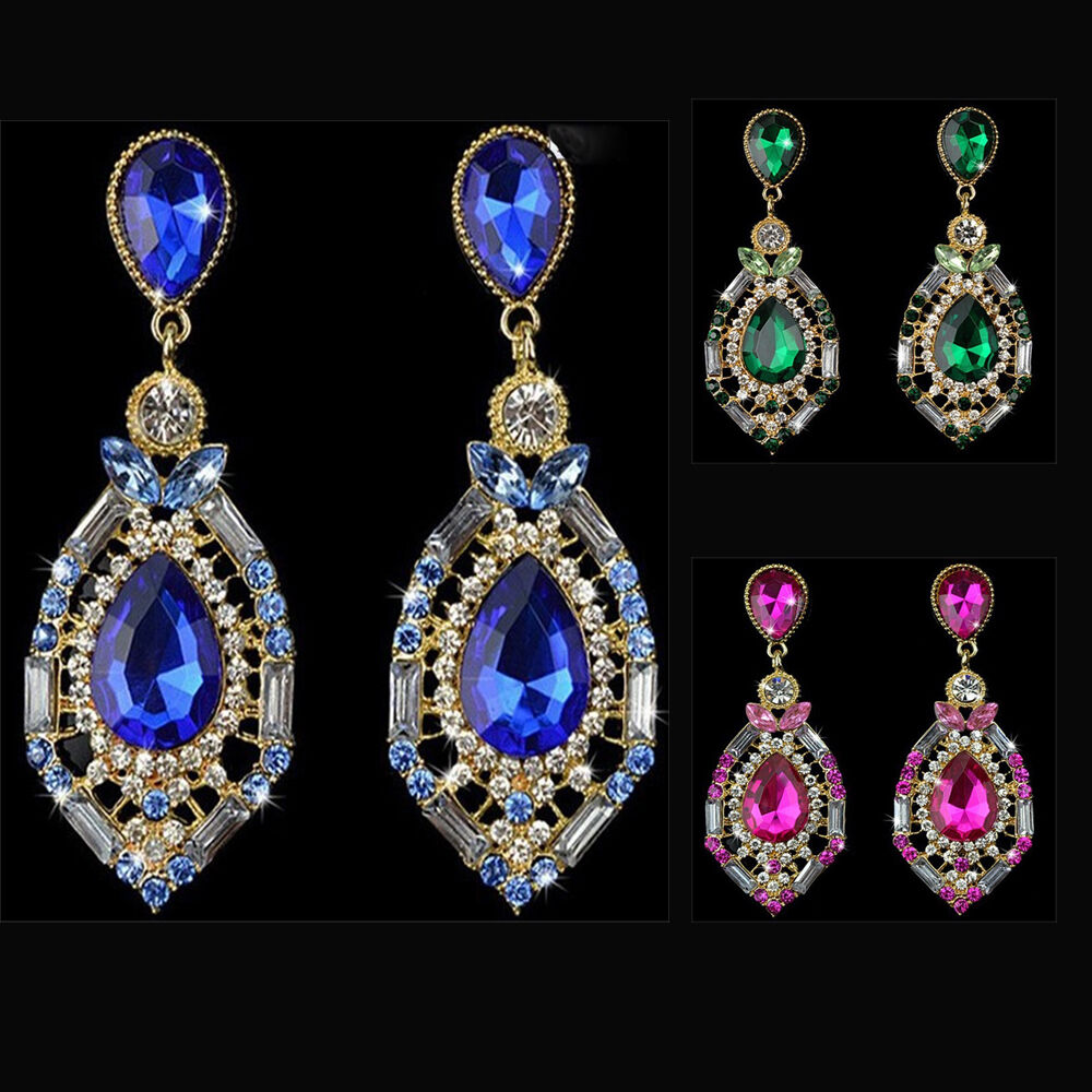 Big Water Drop Earrings Crystal Women Dangle Earring ...