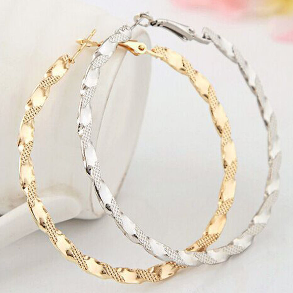 Gold Silver Large Big Hoop Loop Earrings Circle Chic Hoops ...