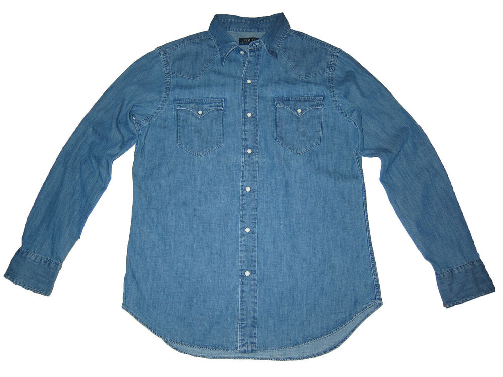 Polo ralph lauren western blue denim pearl snap shirt for Polo shirt with jacket