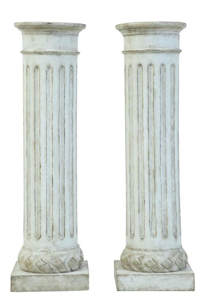 Cultured Stone Pillars : Pair of faux stone carved wooden columns ebay