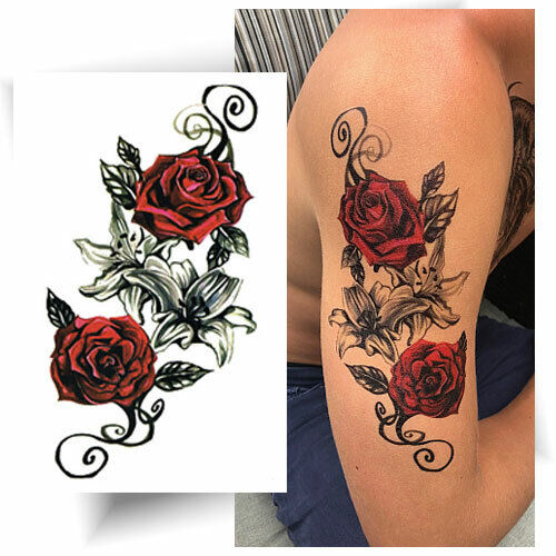 grand tatouage temporaire rose lys faux tattoo d calcomanie femme ebay. Black Bedroom Furniture Sets. Home Design Ideas