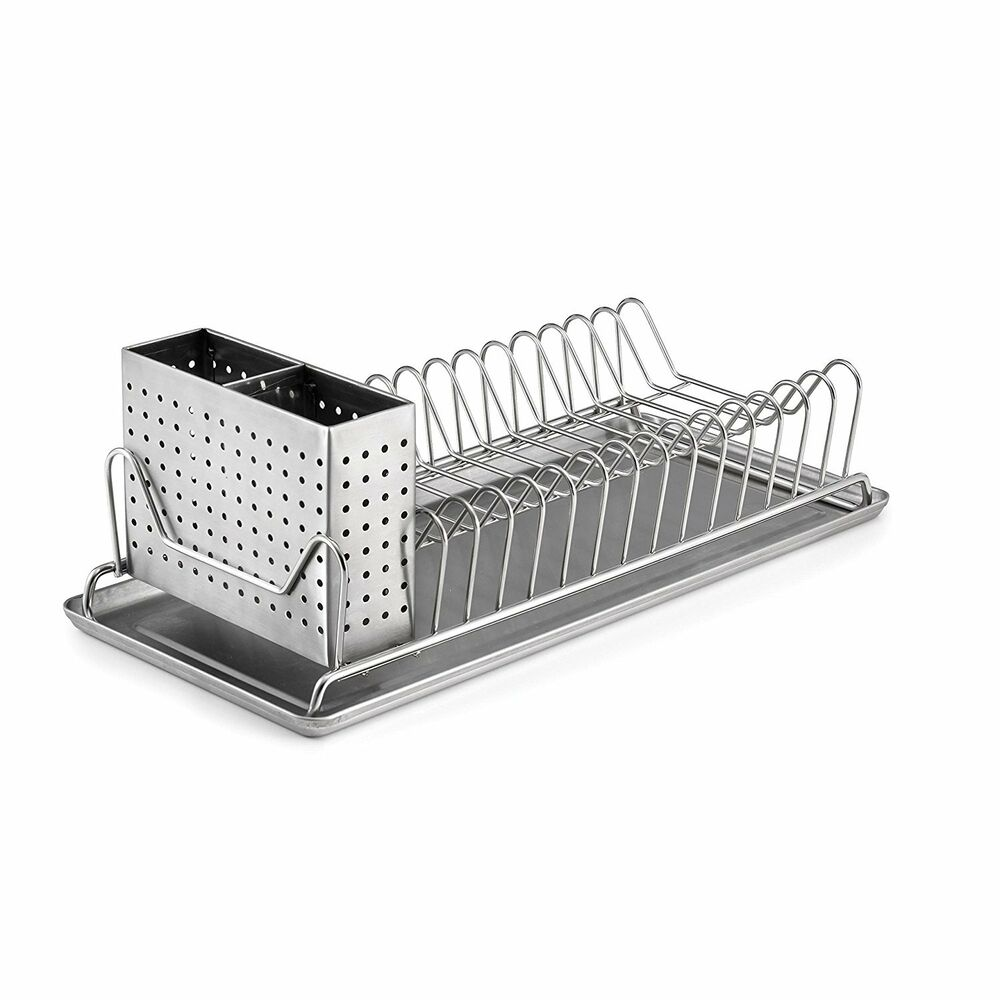 stainless steel sink kitchen dish plate rack utensil holder drainer drying new ebay. Black Bedroom Furniture Sets. Home Design Ideas