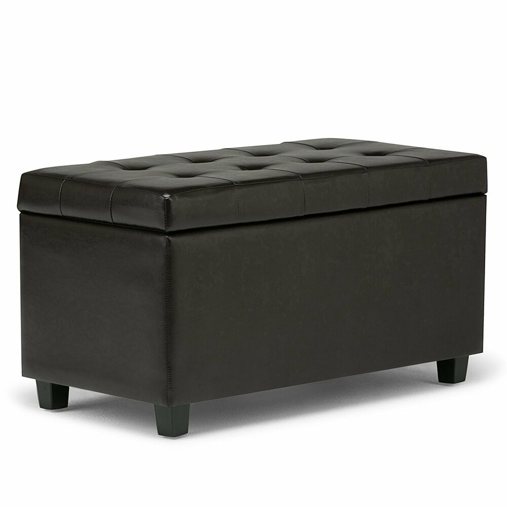 Leather storage ottoman bench foot stool tufted seat for Storage ottoman seat