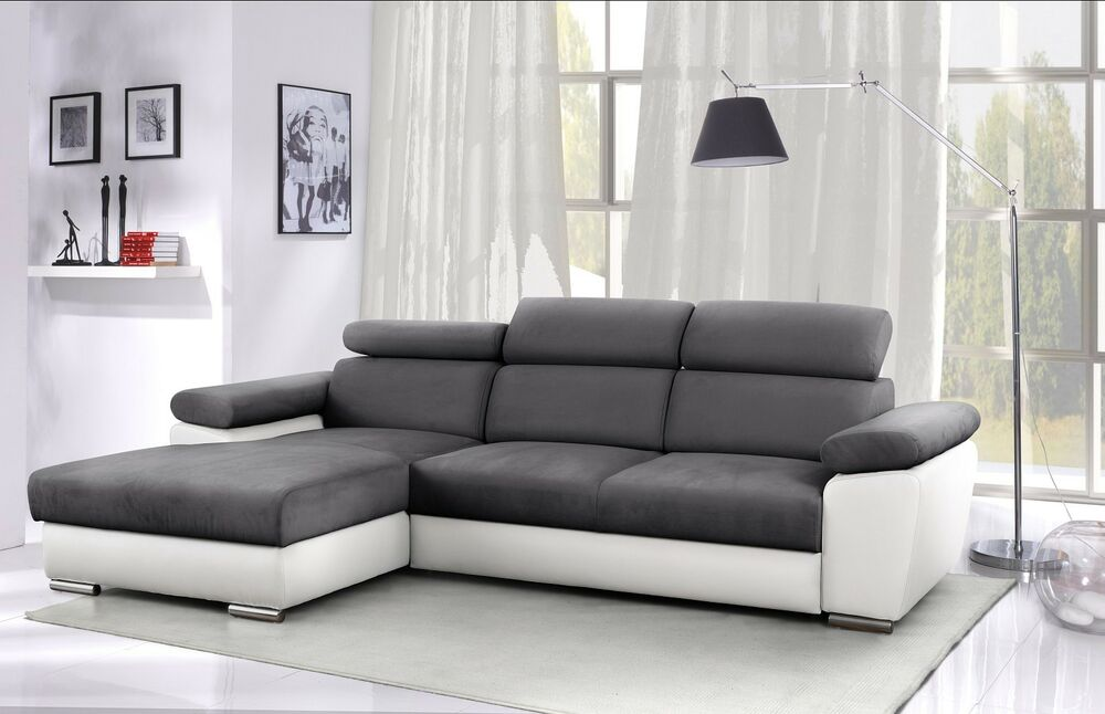 ecksofa granada mit verstellbaren kopflehnen schlaffunktion und bettkasten ebay. Black Bedroom Furniture Sets. Home Design Ideas