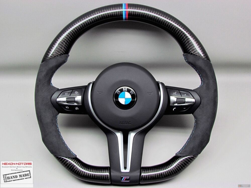 Bmw F80 M3 F82 M4 F15 X5m F16 X6m M Ring Flat Bottom Thick Carbon Steering Wheel Ebay