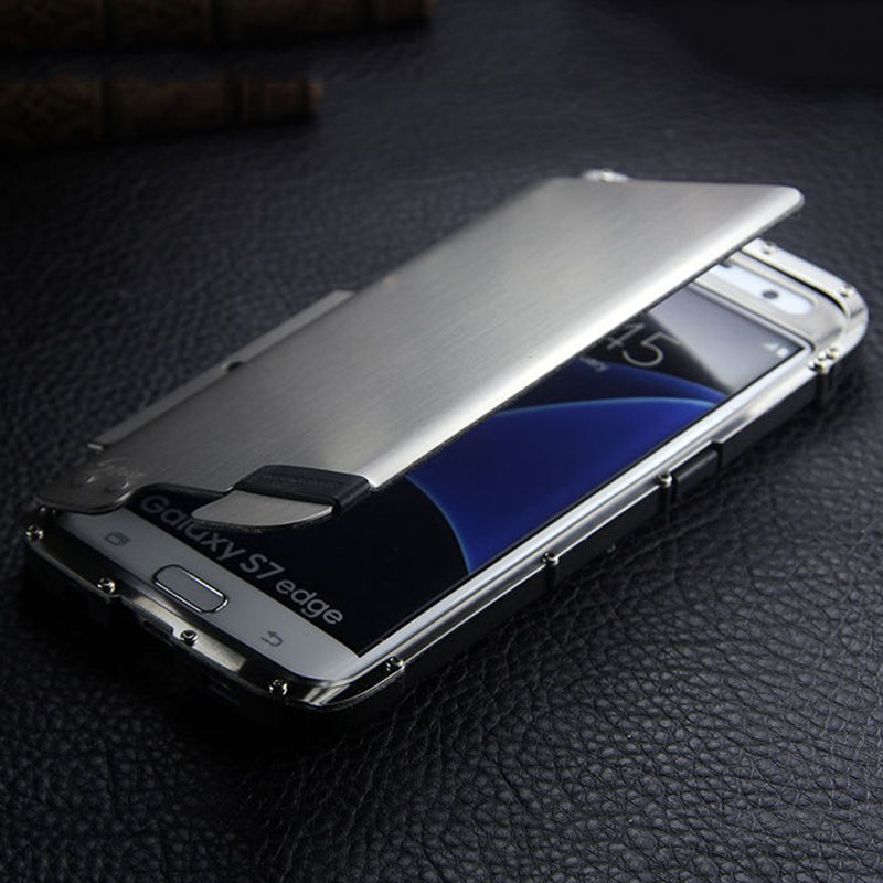 new product a3ae0 4392d Armor Luxury Metal Hybrid Aluminum Bumper Stand Case Cover For Samsung  iPhone | eBay