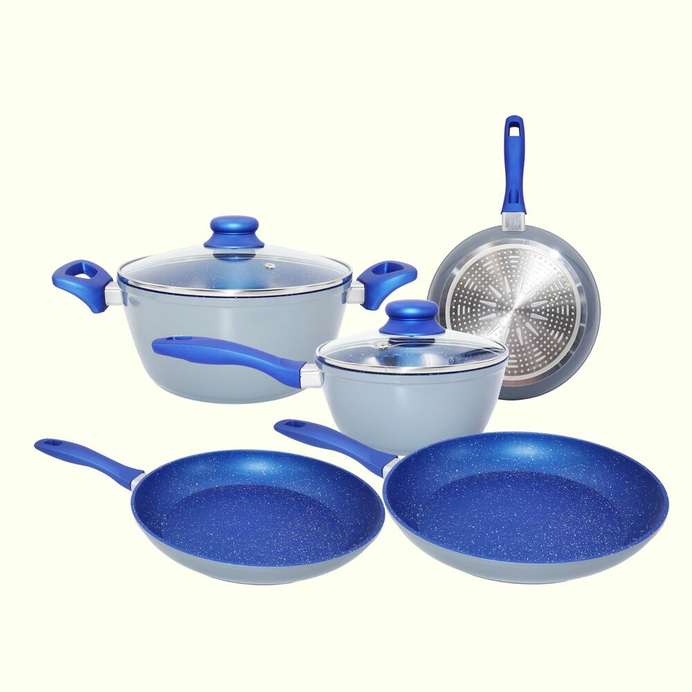 Cookware Set 7 Piece Non Stick Blue Marble Ceramic Forged