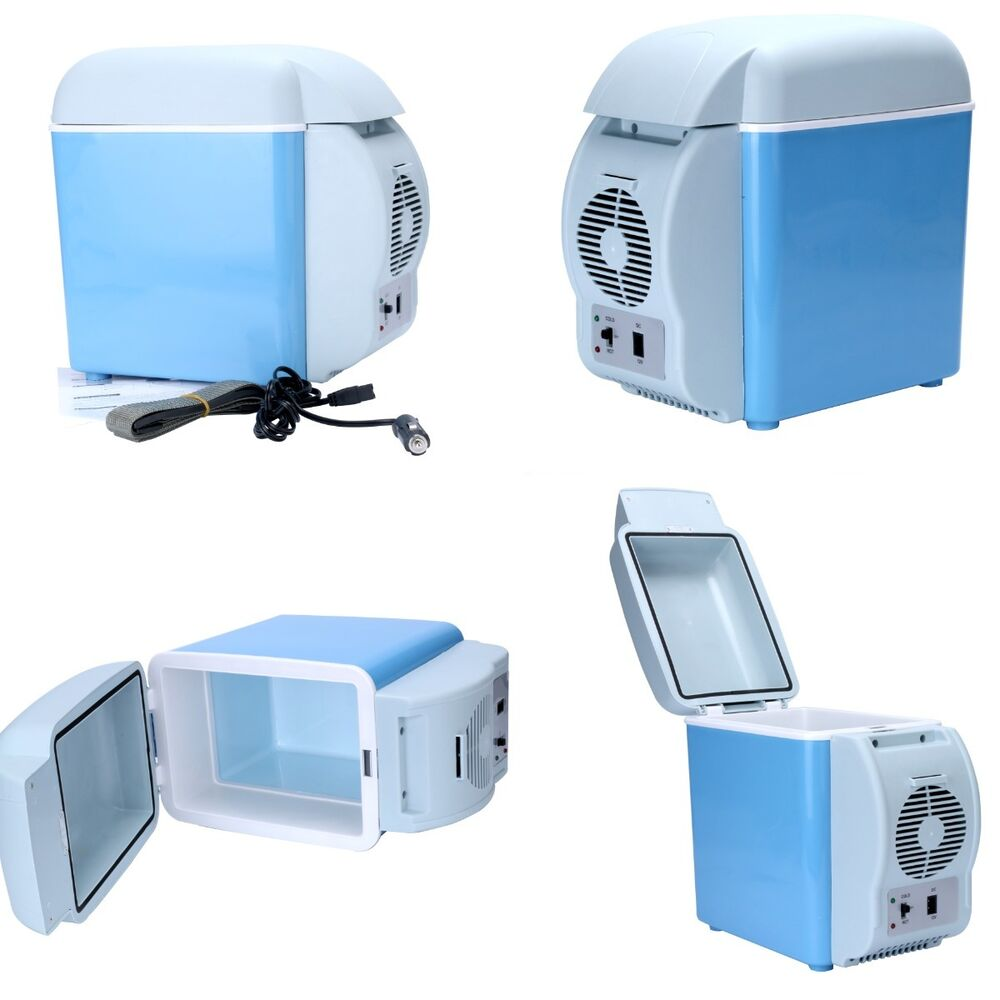 Small Portable Coolers : New v blue car small refrigerator mini fridge cooler