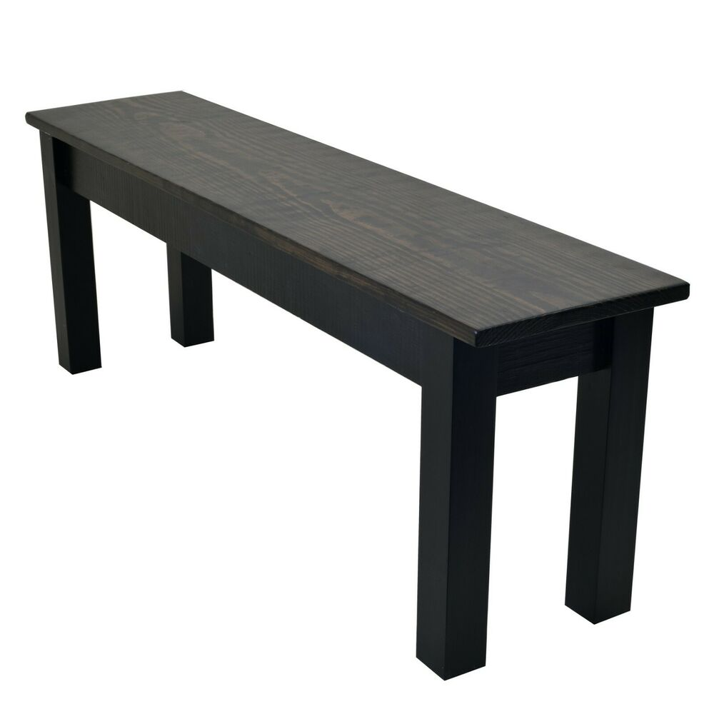 Dark Walnut Black Bench Farmhouse Bench Rustic