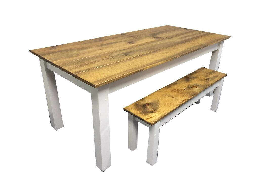 barn wood white farm table rustic harvest farmhouse kitchen dinning table ebay. Black Bedroom Furniture Sets. Home Design Ideas