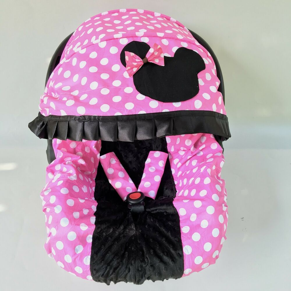 baby car seat cover canopy cover set minnie mouse style pink black fit most seat ebay. Black Bedroom Furniture Sets. Home Design Ideas