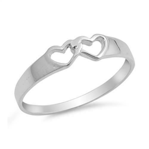 Double Heart Wedding Engagement Anniversary Ring 925 ...