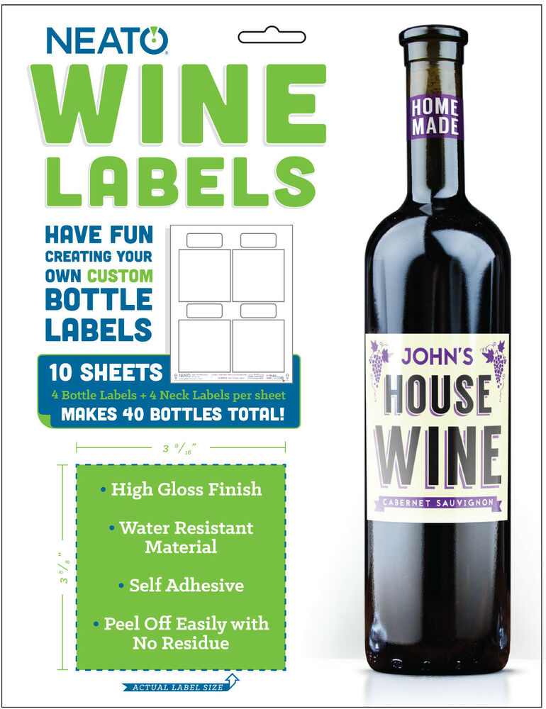 Neato Wine Bottle Labels - High Gloss - 40 Labels - Online ...