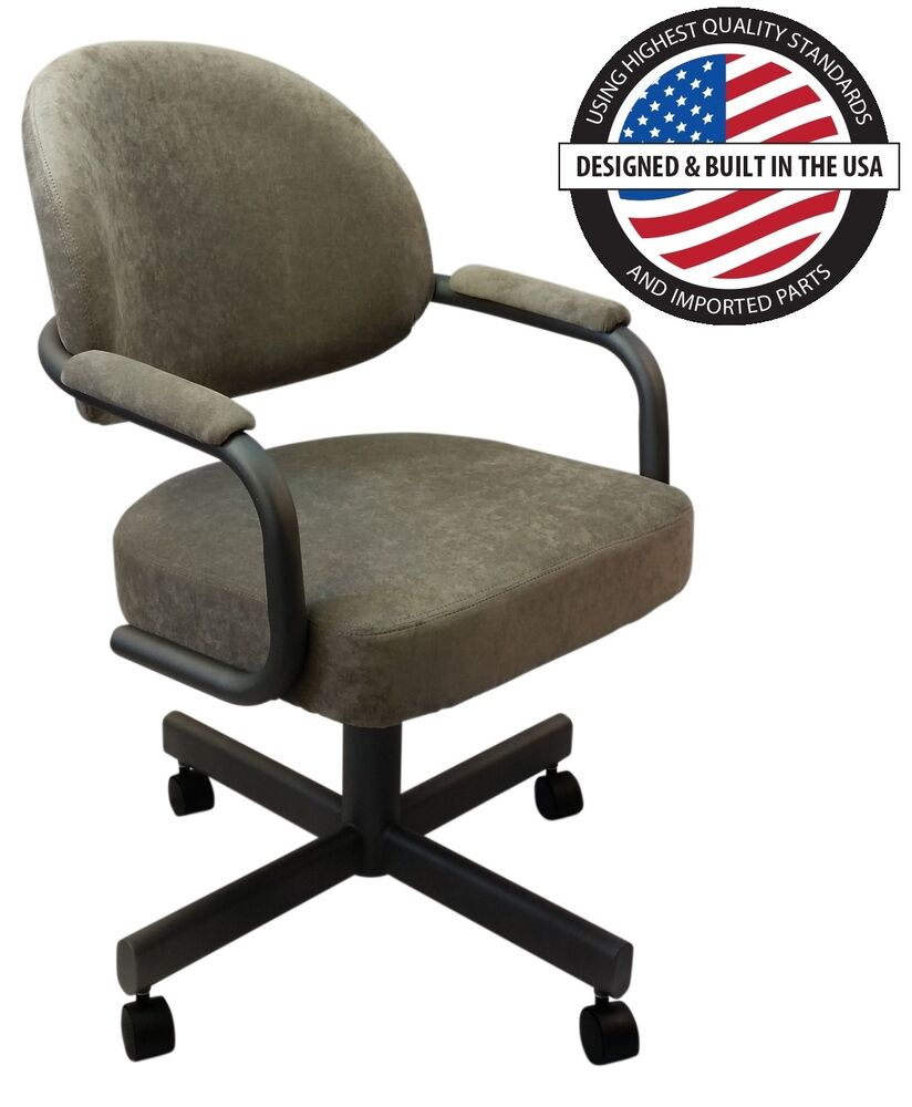 Rolling Dinette Chairs: Casual Rolling Caster Dining Arm Chair With Swivel And