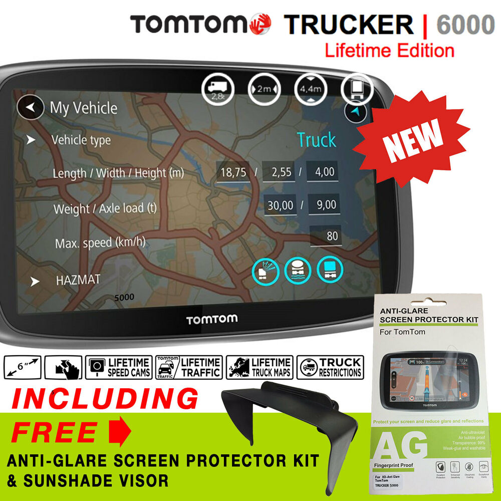 new tomtom trucker 6000 lifetime edition lifetime maps live traffic cameras ebay. Black Bedroom Furniture Sets. Home Design Ideas