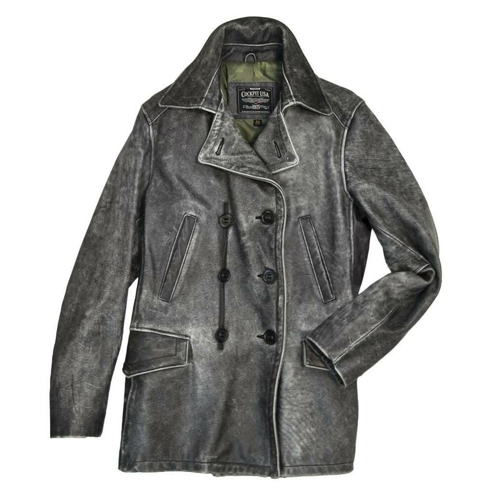 Womens leather pea coat