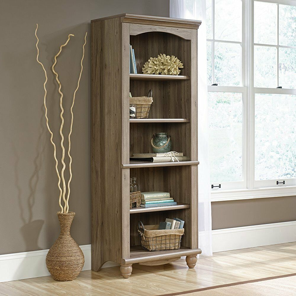 Sauder 72 Inch Tall Harbor View Library Bookcase In Salt