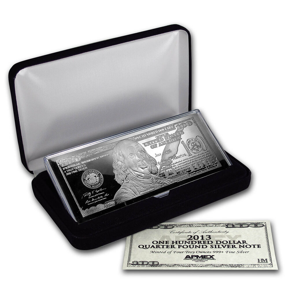 4 Oz Silver Bar Random Year 100 Bill W Box Amp Coa