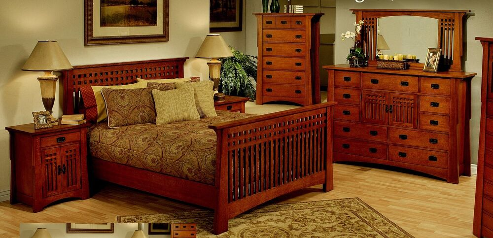 6 Pc California King Bed Solid Mahogany Wood Craftsman Mission Bedroom Suite Set Ebay