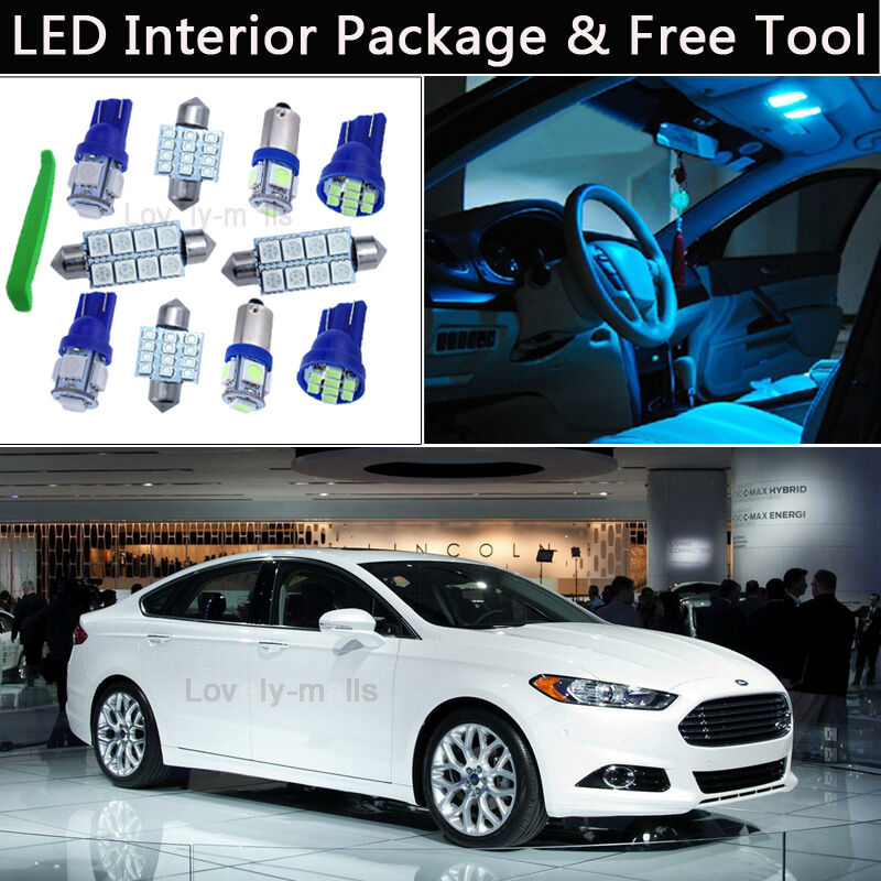 10x Blue Interior Led Lights Replacement Package Kit Fit: 10PCS Bulbs Ice Blue LED Interior Light Package Kit Fit