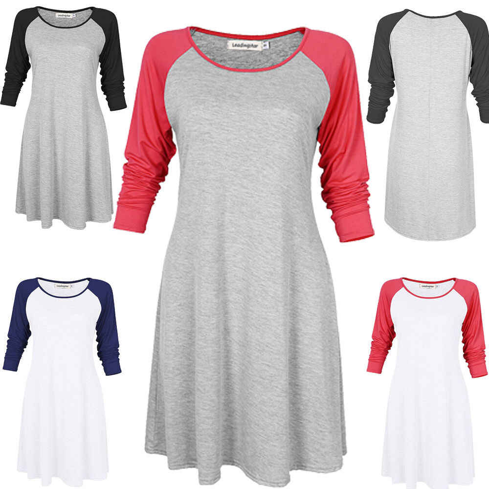 Womens 3 4 Sleeve Casual Athletic Tunic Dress Baseball Tee