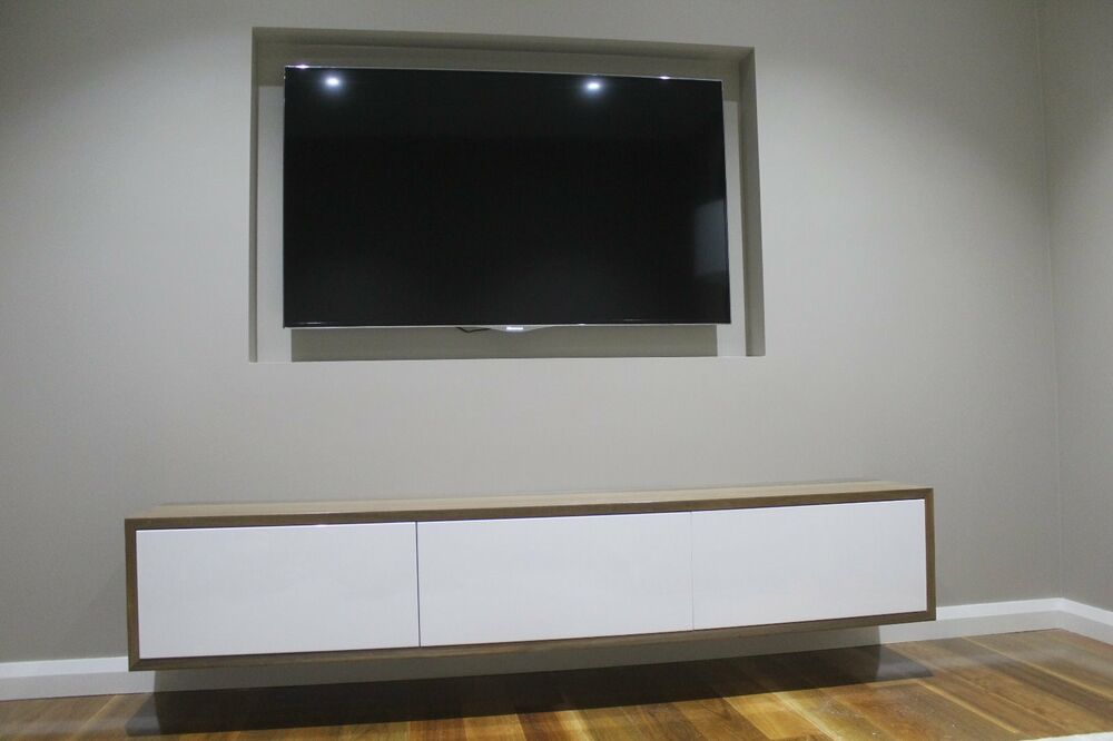 Australian Made Solid Spotted Gum Wall Mounted Tv Unit Ebay