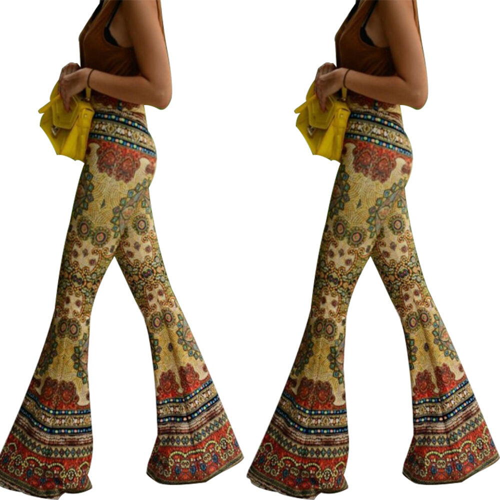 Women Retro Style Casual Floral Bell Bottom Long Stretch
