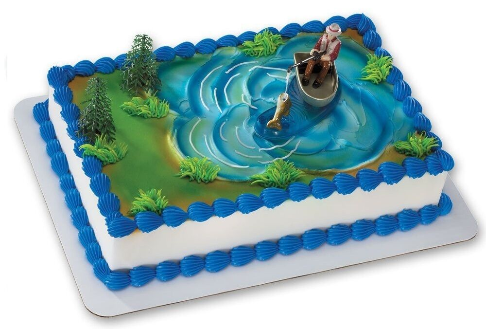 Fisherman Fishing Boat Pole Grooms Cake Decorations ...