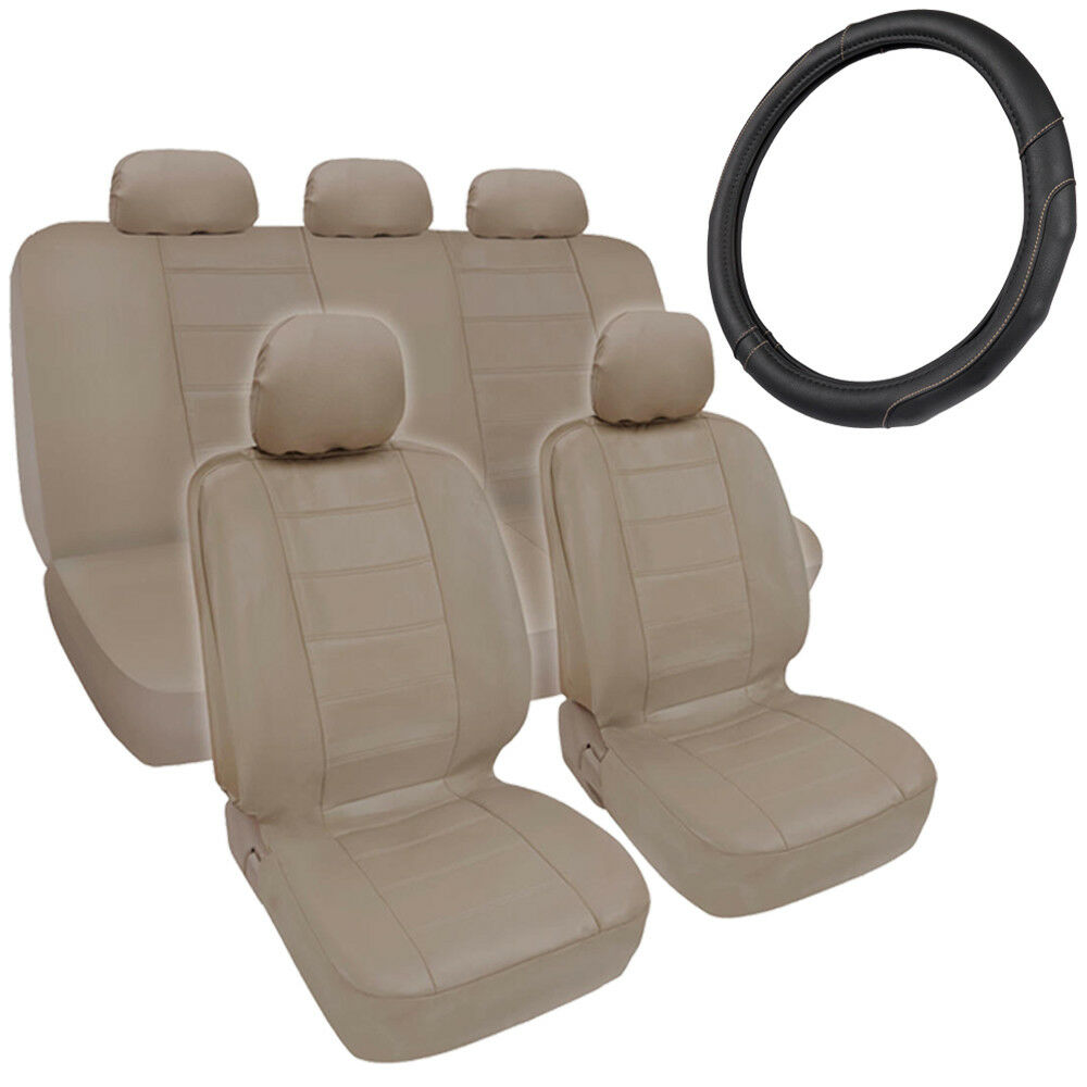 Beige PU Leather Car Seat Covers GripDrive Steering Wheel