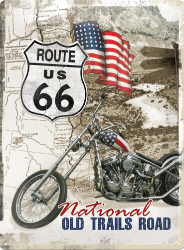 route 66 old trails road easy rider motorcycle bike large 3d metal embossed sign ebay. Black Bedroom Furniture Sets. Home Design Ideas