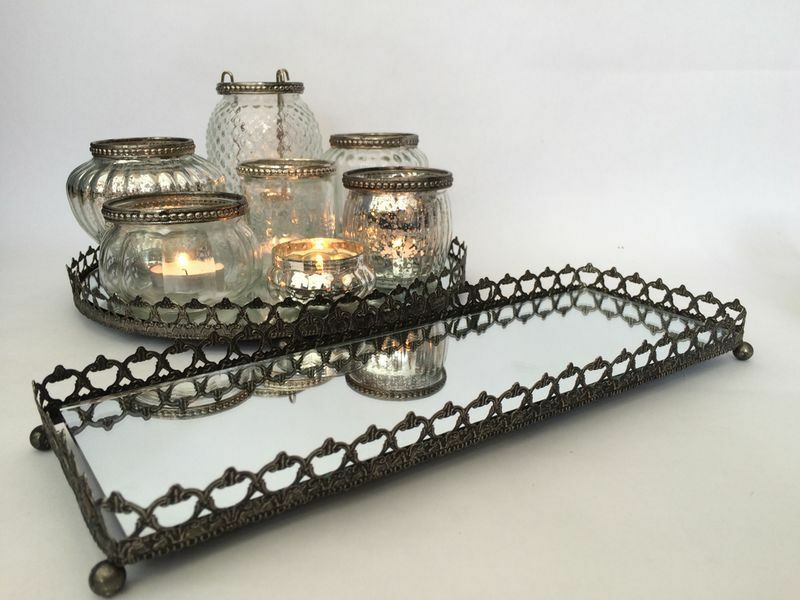 Seconds Mirror Glass Silver Tray Vintage Style Tea Light