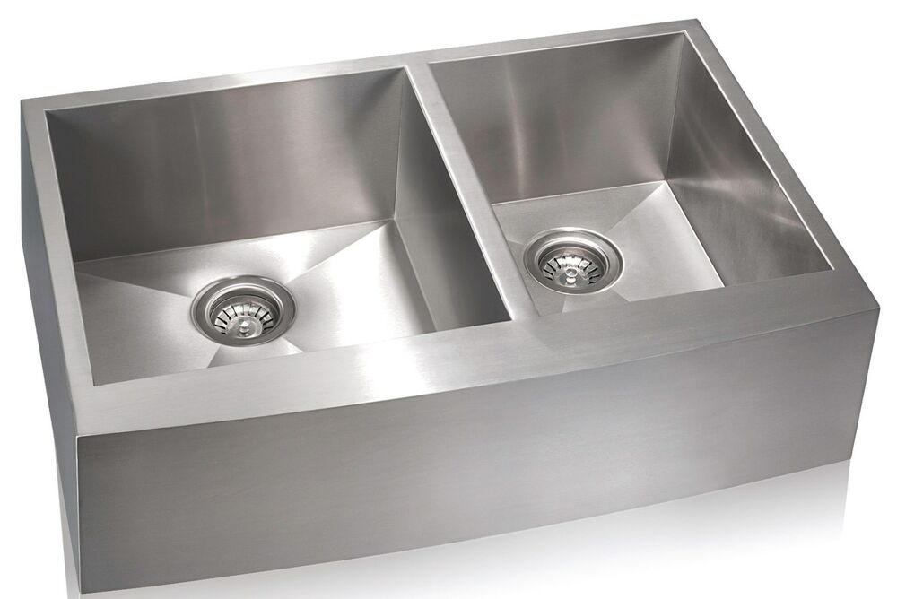 Aquarius square undermount apron front farmhouse stainless - Square stainless steel bathroom sink ...