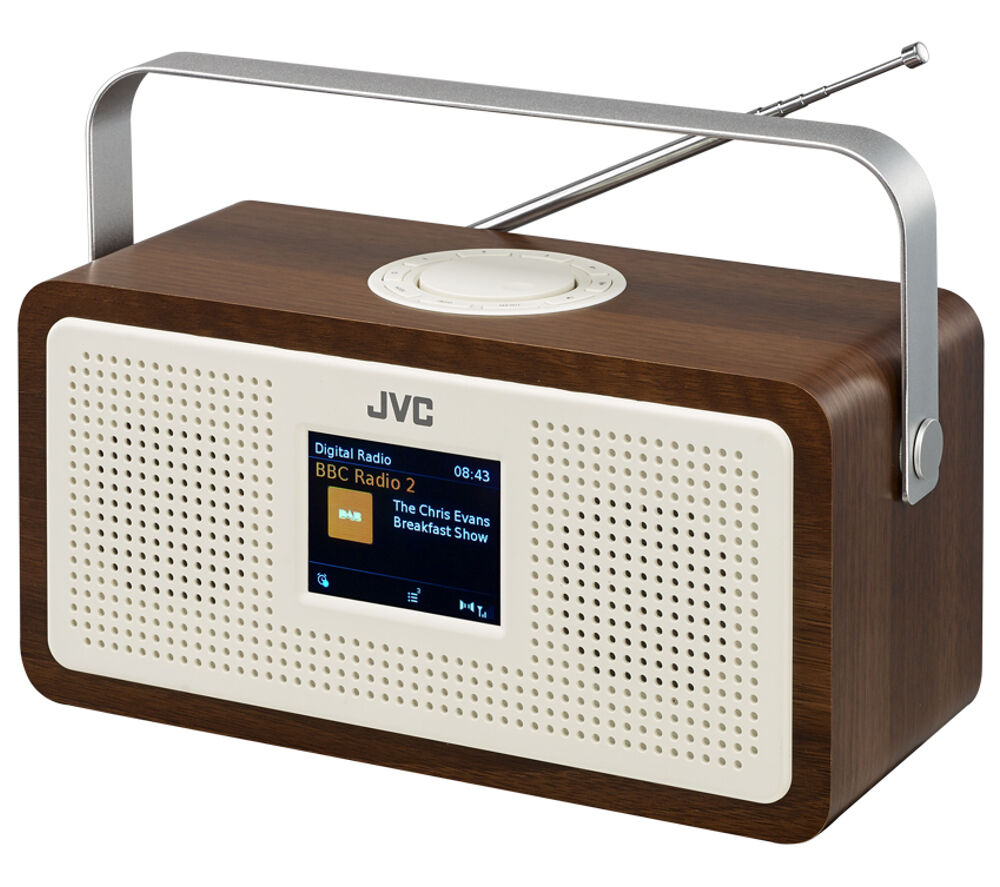 jvc ra ds77 portable dab fm clock radio wood cream up to 10 hours battery life ebay. Black Bedroom Furniture Sets. Home Design Ideas
