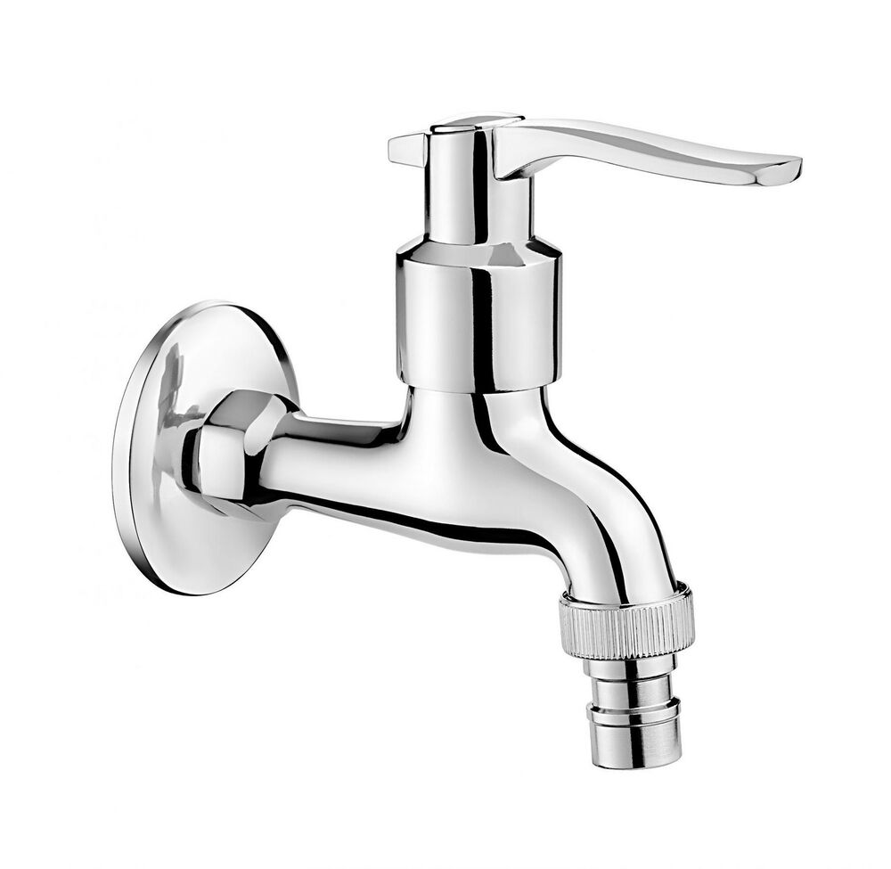Chrome plated cold water garden outdoor tap 1 2 with for Robinet mural grohe