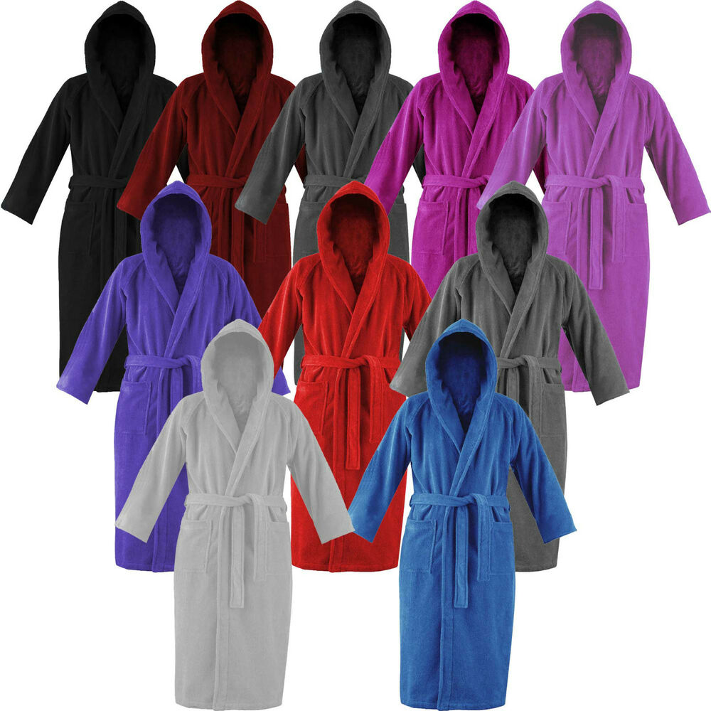 Bathrobe: Robe Hooded Mens Womens Bath 100% Cotton Terry Towelling