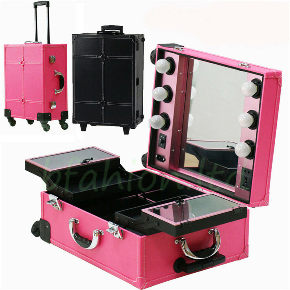 Lighted Makeup Station Professional Cosmetic Case Wheeled